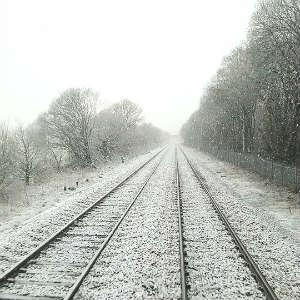snow on a railroad